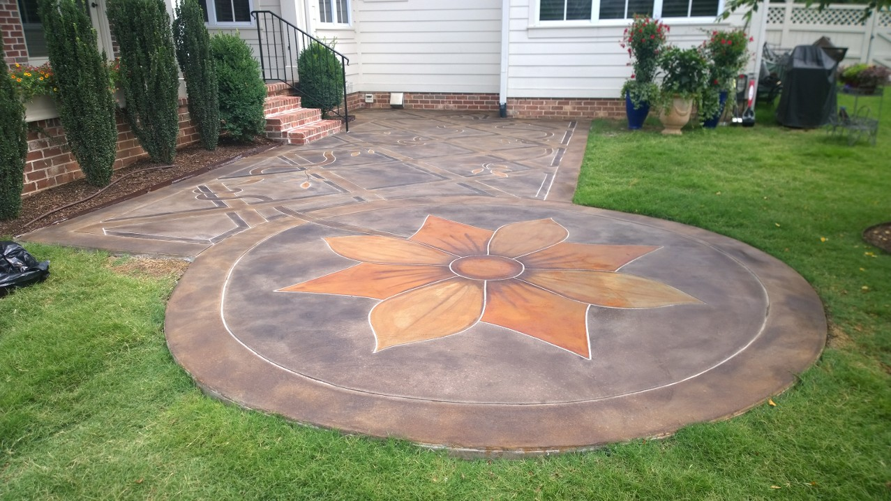 Intricate multi-color patio