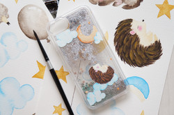 Glittery Smart Phone Case with Hedghog