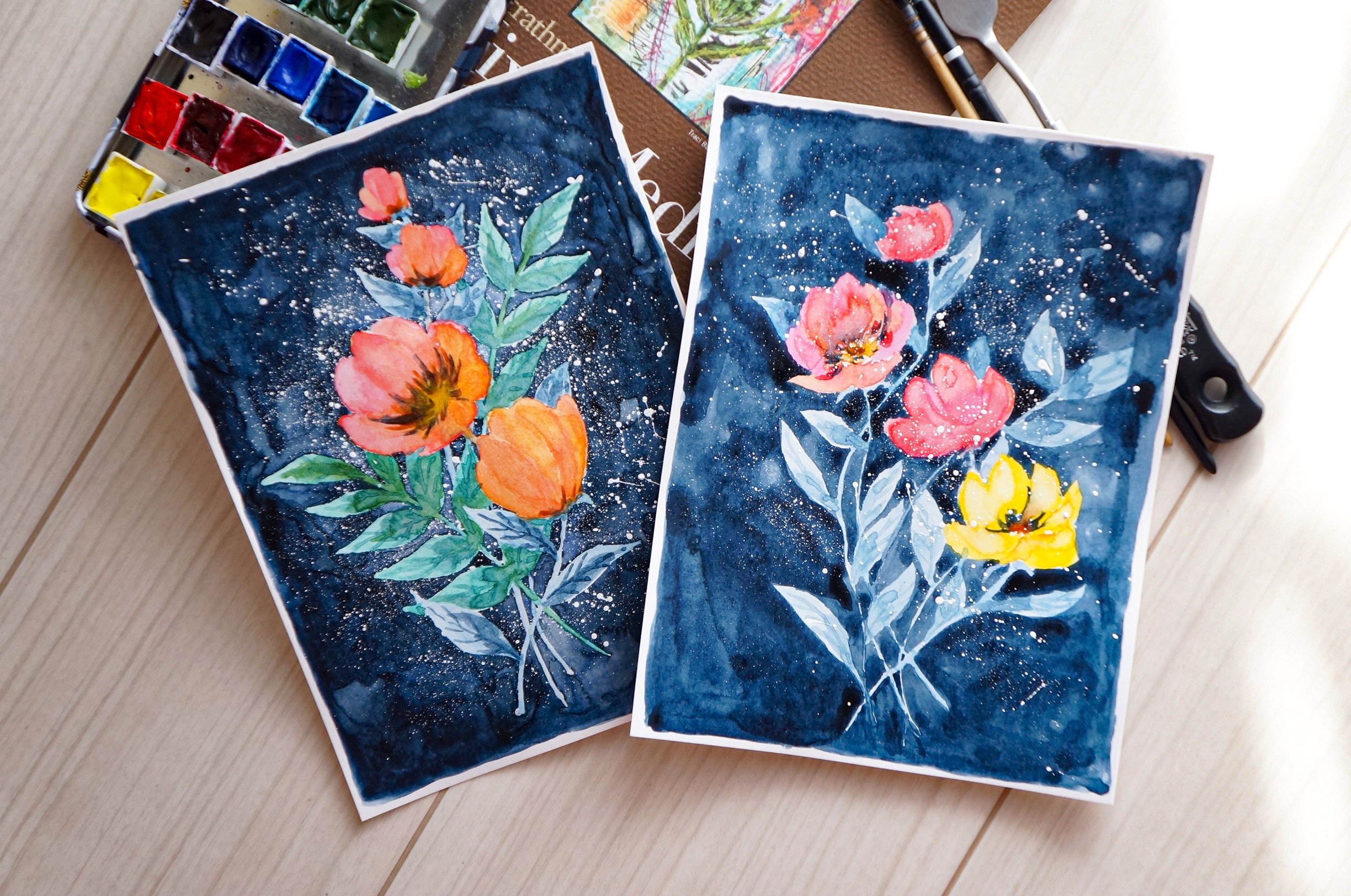 Loose Flowers with Blue Background