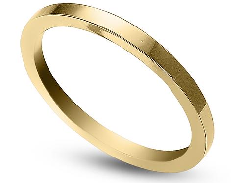 Ladies 14K Gold 2mm Flat Wedding Band