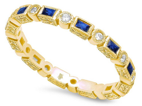 Baguette Sapphire and Round Diamond Eternity Band