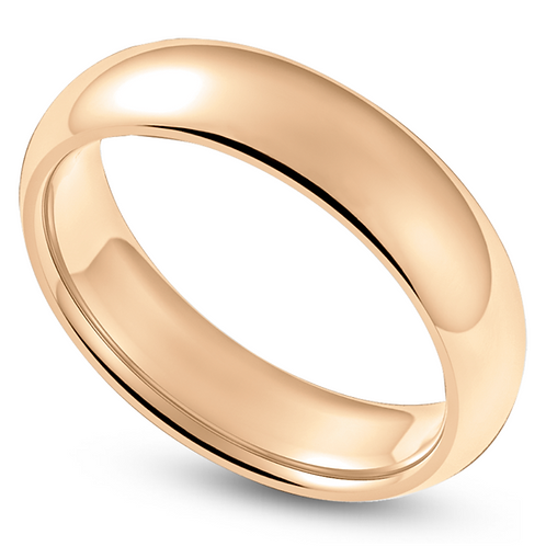 Mens 14K Gold 6mm Half Round Light Wedding Band