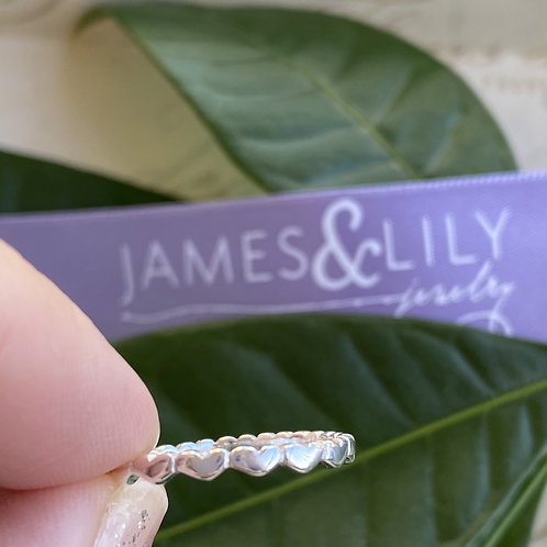 Sterling Silver Heart Eternity Band