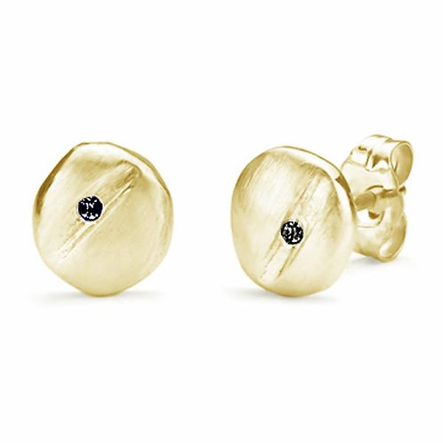 Coffee Bean Earrings 14K yellow gold with Black diamonds