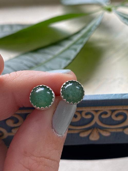 Sterling Silver Aventurine Stud Earrings