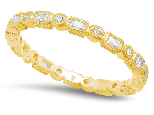 Baguette and Round Diamond Eternity Band