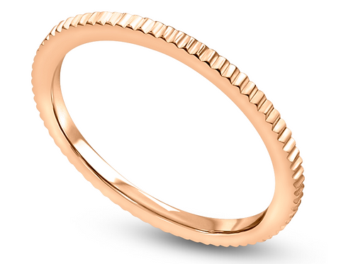 "14K Stackable ""Dash"" Milgrain Wedding Band"
