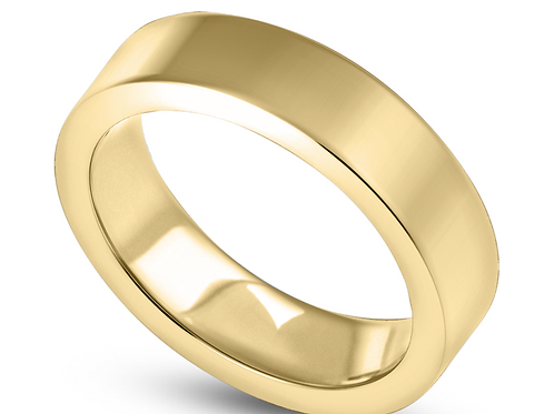 Mens Gold 4mm Flat Light Wedding Band