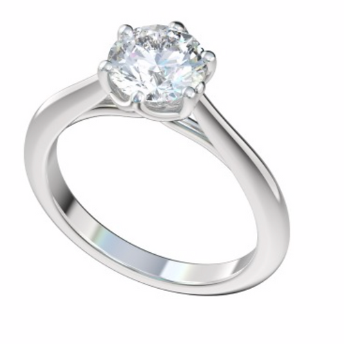 """Gold """"Catherine"""" Six Prong Trellis Style Solitaire Engagement Ring Setting"""