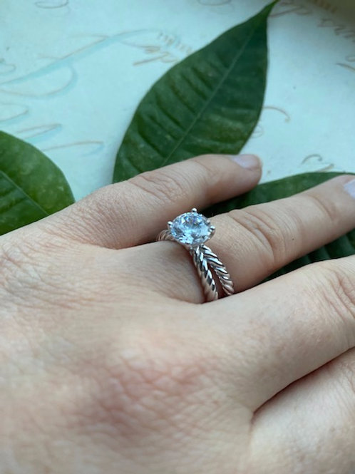 """Gold """"Shelby"""" Criss Cross Rope Engagement Ring Setting"""