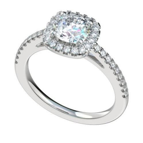 """Gold """"Cheyenne"""" Cushion Shaped Halo Engagement Ring Setting"""