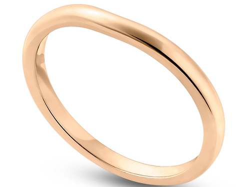 Ladies 14K Gold 2mm Curved Low Dome Band