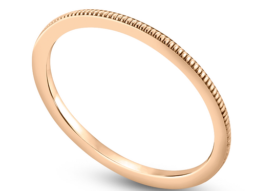 "14K Stackable ""Reed"" Milgrain Wedding Band"