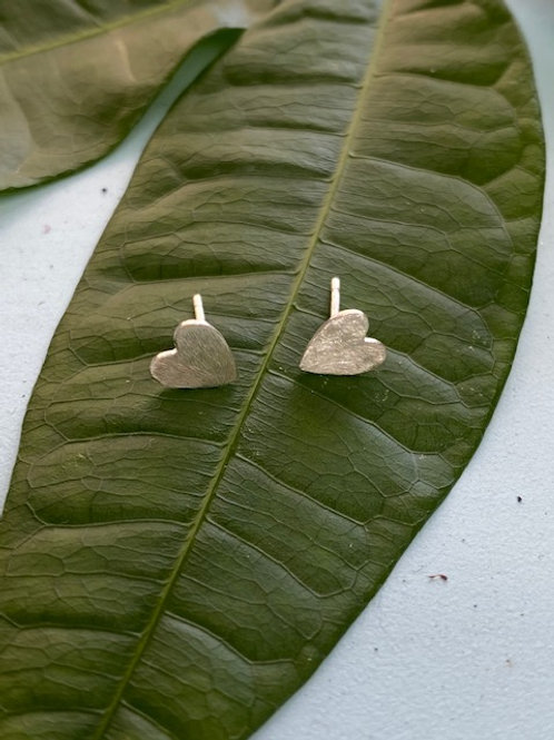 Sterling Silver Heart Studs-Classic Size