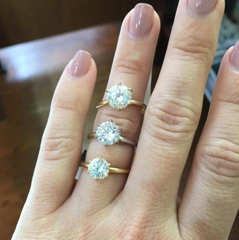 Three round solitare engagement rings