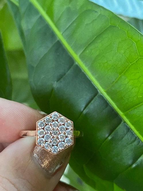 "14k Rose Gold ""Ella"" Diamond Hexagon Ring"