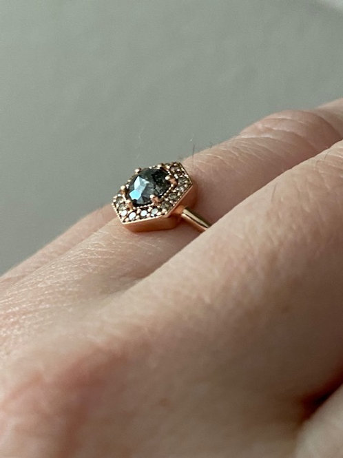 "14k Rose Gold Salt & Pepper Diamond "" Blair"" Engagement Ring"