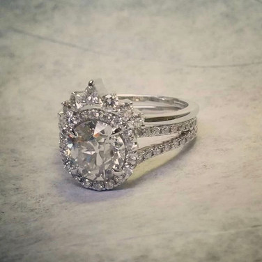 Custom Halo Engagement Ring and crown wedding band