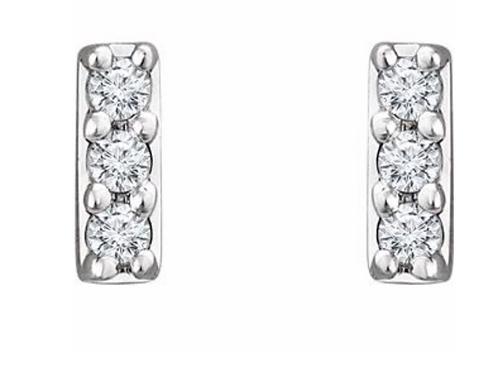 14K Gold Mini Diamond Bar Earrings .05 carats
