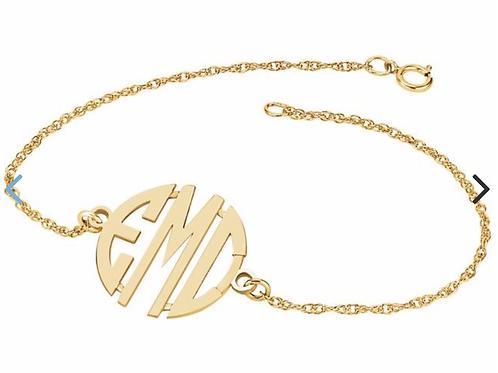 14k Gold Custom Monogram Bracelet