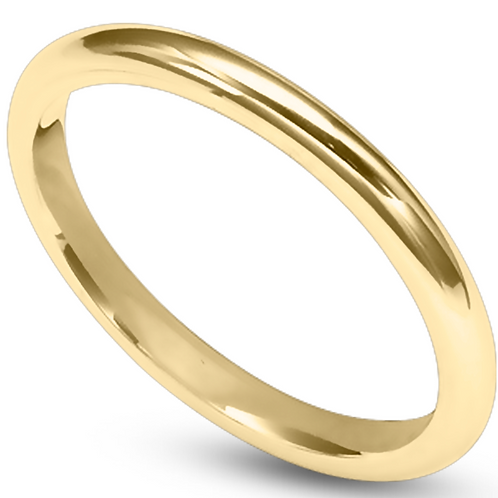 Ladies 14K Gold 2mm Half Round Wedding Band