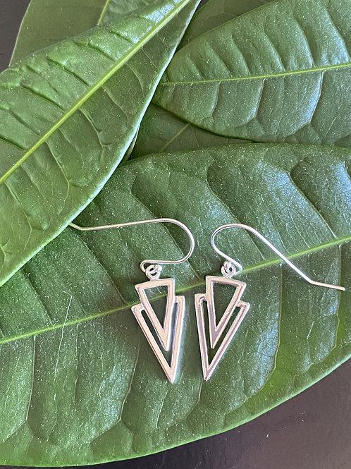 Sterling Silver Open Triangle Drop Earrings