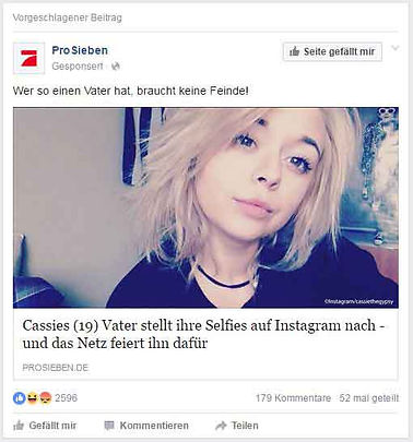 Beispiel für Facebook Anzeige