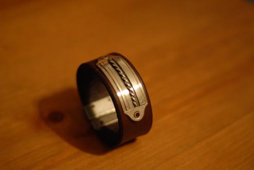 Bracelet en cuir et argent