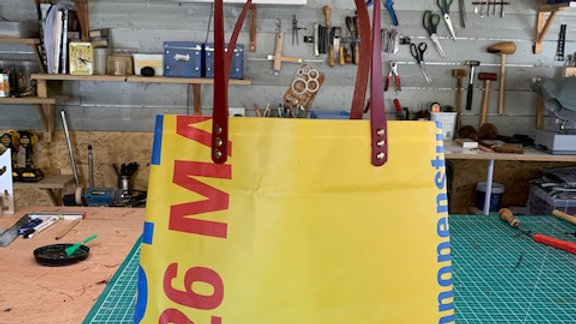 LEXXY : Handmade Shopper/Tote from a reclaimed show banner