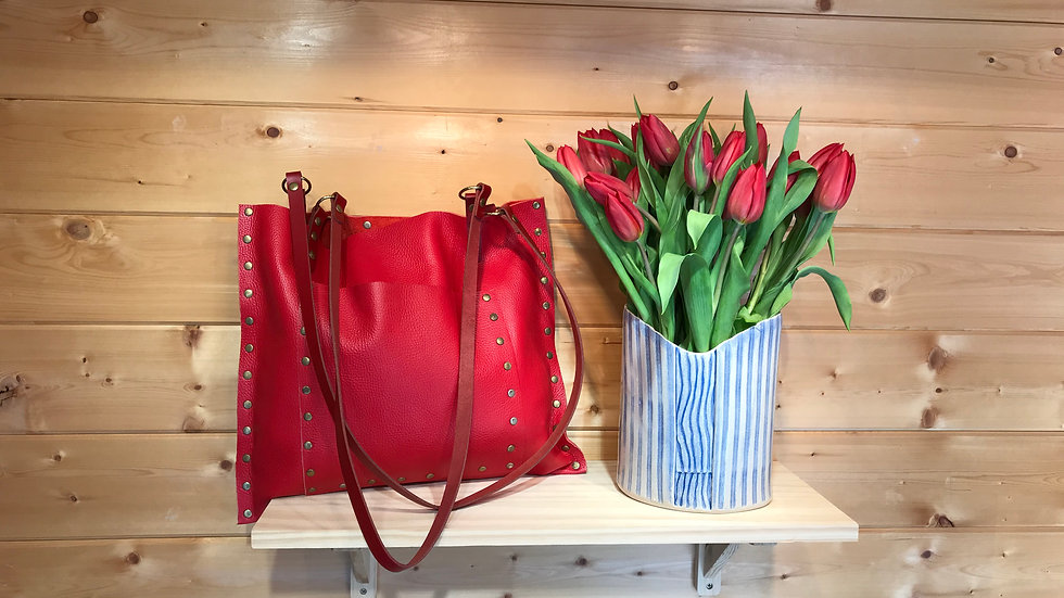 ZOE : Red Reclaimed Leather Studded Tote