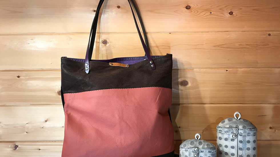 ALICE : Multi Coloured Recycled Suede and Leather Tote