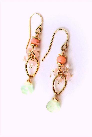 Peonies Pink Opal, Czech Glass, Crystal Cluster Earrings