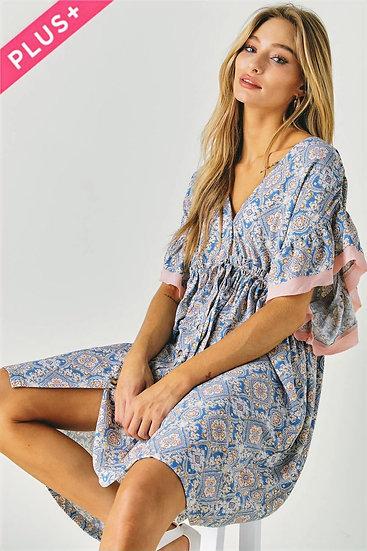 Tie Waist Floral Dress