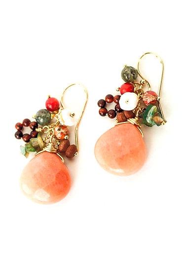 Sunset Coral, Peruvian Opal, Jasper, Calcite Cluster Earring