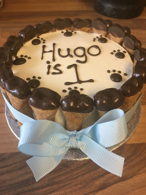 Personalised Dog Birthday Cake Is Handmade With A Carrot Sweetened Honey And Flavoured Little Peanut Butter