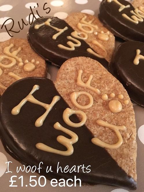 I Woof U heart cookie