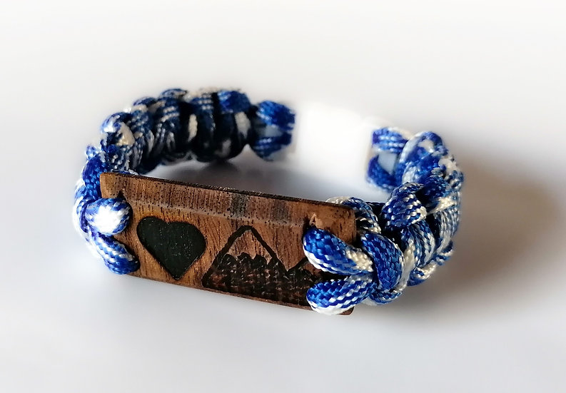 """I love mountain"" paracord bracelet 19.5cm"