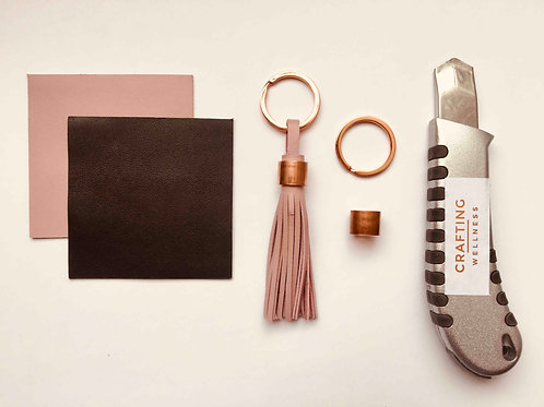 Refill kit materials - leather tassel key ring