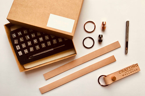 Make your own leather key ring wellness kit