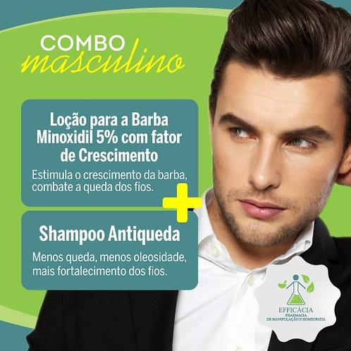 Loção Para Barba Minoxidil 5% com Fator de Crescimento + Shampo Antiqueda