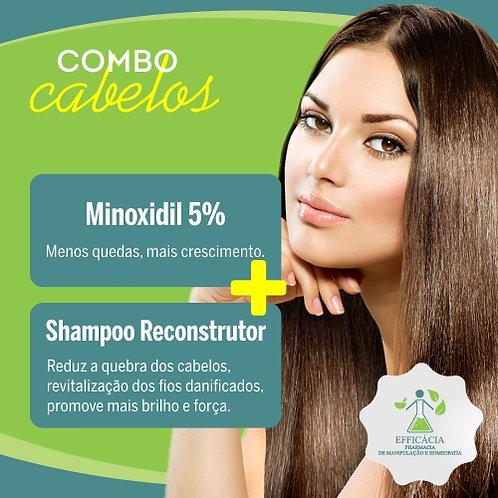 Minoxidil 5% com Propilenoglicol +Shampo Reconstrutor
