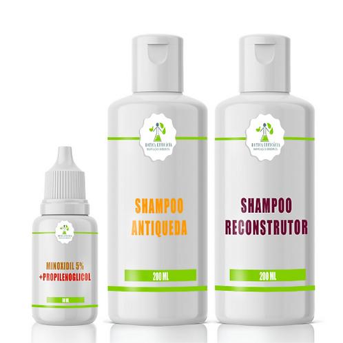 Shampo Reconstrutor + Shampo Antiqueda + Minoxidil 5% com Propilenoglicol