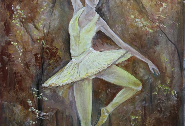 """""""The Aspen Ballet"""" 18""""x14"""" oils or acrylics on stretched canvas."""