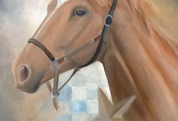 """Secretariat"" Acrylics on stretched canvas. 18x24"