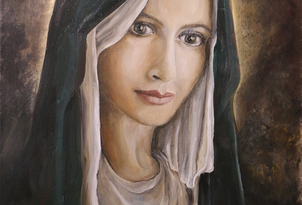"""Mother Mary"" 18""x24""oils on stretched canvass."