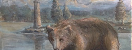 """Bear at Willow Bay"" 12""x9"" on canvass board."