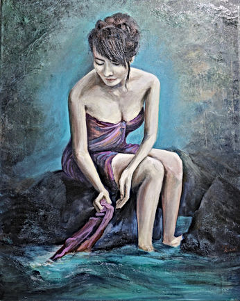 "Original oil painting of a ""Bather"""