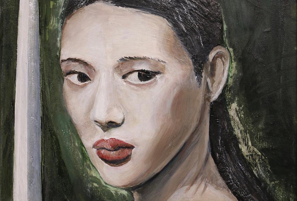 """""""Swordswoman""""  14x11 Acrylic paint and medium on canvas"""