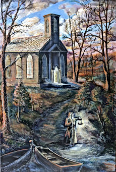 Original art of Historic Constantia, NY Trinity Church