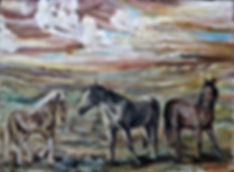 "Wildlife Paintin: ""Cloud Runners"" Wild Horses of The Great Plains"